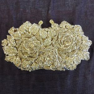 🌹Rose Evening Bag - Gold Tone w/ Gold Crystals🌹